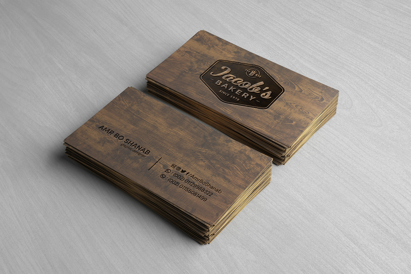 Wooden Business Card 1000x1000 - Free Wooden Business Card Mockup PSD