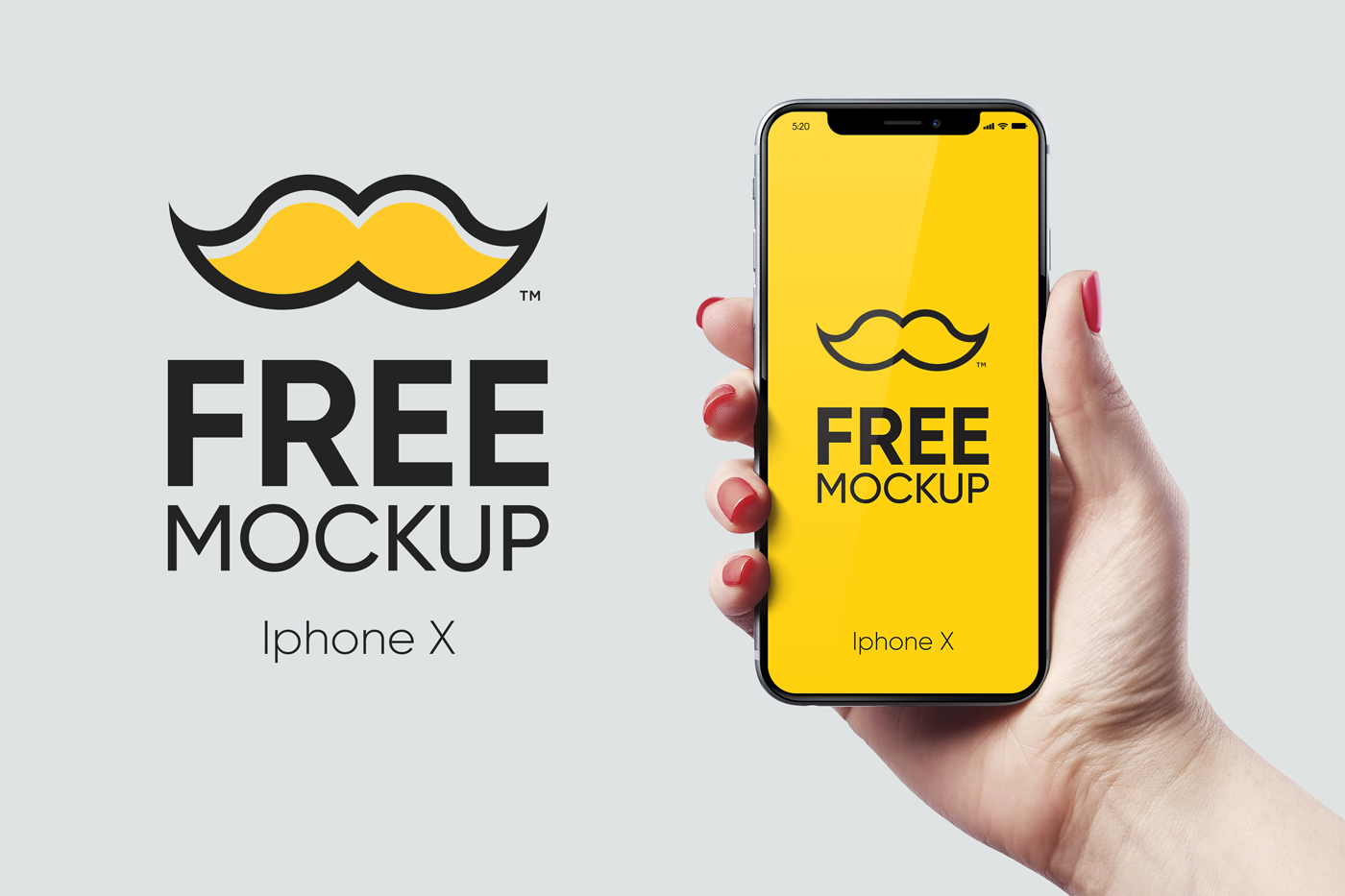 iphone x 1000x1000 - Free Iphone X New Mockup psd